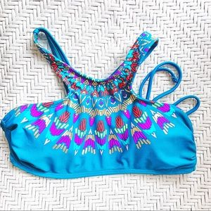 High Neck Blue Turquoise Tribal Swimsuit Top S-XS